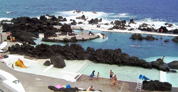 Pool with sea water